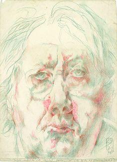 Horst Janssen: Dies möchte ich nicht sein, 24. Januar 1981, 37 x 28 cm, Bleistift, Pastell. Foto: Museum der bildenden Künste, Leipzig