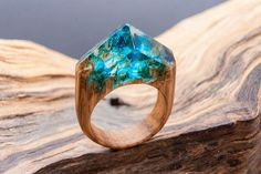 AZURE wooden resin ring. READY SIZE 12 Eco epoxy jewelry. Green Wood the secret of the magic world in a tiny landscape. Glow in the Dark