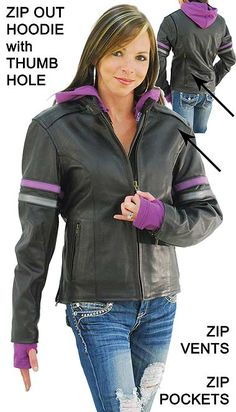 Purple Stripe Vented Motorcycle Jacket with Hoodie Love the jackets and shirts with the thumb hole! SWEET!