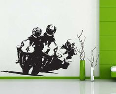 vinyl wall art Decal Compete Racing Motorcycle wd-13. $29.99, via Etsy.