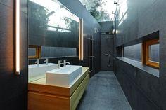 Glass ceiling, dark stone bathroom. Olivier Vallat Architectes. Photo © Luca Fascini Stone Bathroom, Glass Ceiling, Interiors, Dark, Home, Glass Roof, Decoration Home, Decor, Deco
