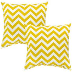 Set of 2 Yellow Zigzag Outdoor Accent Pillows