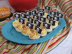 Pirate food - deviled eggs with pirate flags that become pirate ships