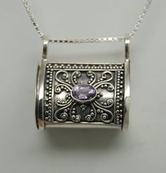 AMETHYST CREMATION JEWELRY STERLING SILVER CREMATION URN NECKLACE MEMORIAL