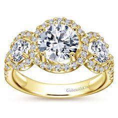 "Gabriel ""Chrysalis"" 14K Yellow Gold Three Diamond Halo Diamond Engagement Ring Featuring 1.15 Carats Round Cut Diamonds. Style ER5341W44JJ"