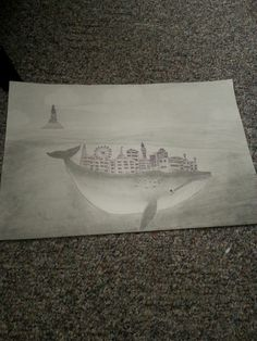 A city on top of a whale. How weird it was to just randomly pop into my head. This was my third project. Drawing woth shading and pen.