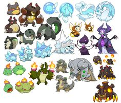 sketchatorium - Second half of my monster collection list! Game Character Design, Character Design References, Character Design Inspiration, Character Concept, Character Art, Oc Pokemon, Pokemon Fan Art, Creature Concept Art, Creature Design