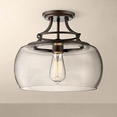 "Charleston Bronze 13 1/2"" Wide Clear Glass Ceiling Light - #3W819 | www.lampsplus.com"