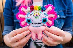 Felt Día de los Muertos Axolotl  Pocket Plush toy by nuffnufftoys