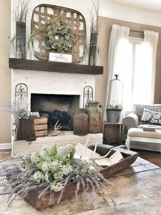 26 Beautiful Living Room Ideas With Fireplace Design. A fireplace doesn t have to stand out to have an impact. The modern fireplace in this neutral living room  Small Living Room Design, My Living Room, Living Room Designs, Living Room Decor, Brick Fireplace Makeover, Fireplace Design, Fireplace Hearth, Farmhouse Fireplace, Farmhouse Bench