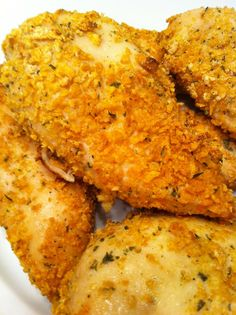Crispy Baked Chicken: In Ziploc bag, Mix: 1 c crushed cornflakes & 1 pack Ranch Dressing mix...Salt & pepper chicken to taste...Coat both sides chicken with 1/2 c sour cream. put coated chicken in the bag of seasoned cornflakes & gently shake til well coated. Put in sprayed 9 x 13 dish, lightly spray top of chicken. Bake @ 350...