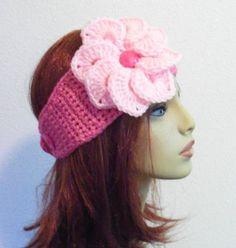 Adjustable Headband/Earwarmer with Flower  Pink by BeyondCrochet