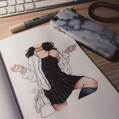 Every girl needs a little black dress - devianart by itslopez Cute Drawings, Drawing Sketches, Drawing Ideas, Itslopez, Arte Sketchbook, Illustration Mode, Art Inspo, Art Reference, Painting & Drawing
