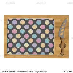 Chic Colorful confetti dots modern cheese party Cheese Board