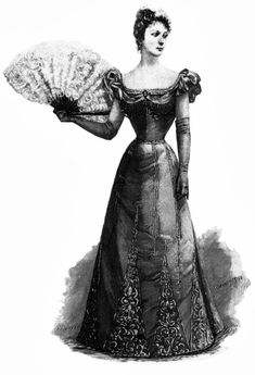 Beaded and embroidered Nile green silk evening dress with white ostrich feather fan and long white suede gloves, from 'Harper's Bazar', December 1890s Fashion, Edwardian Fashion, Vintage Fashion, Vintage Outfits, Vintage Dresses, Belle Epoque, Victorian Evening Gown, Style Édouardien, Victorian Costume
