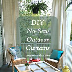 DIY No Sew Outdoor Curtains   Great Idea To Dress Up The Outdoor Space Of