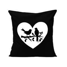Pillow Cover - Love Birds in Black - Hand Screen Printed Cushion Cover - Handmade in Melbourne, Australia by Linnea - Swedish Design. www.linnea.com.au