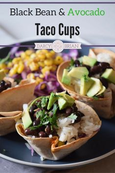 Looking for a quick and easy appetizer? This Black Bean Avocado Taco Cups recipe is the perfect finger food for dinner or a party! Ready in about 20 mins. It's a delicious meatless meal option made in a muffin tin. Get the kids cooking and have them help Quick And Easy Appetizers, Easy Appetizer Recipes, Delicious Dinner Recipes, Quick Snacks, Appetizer Ideas, Delicious Dishes, Party Recipes, Yummy Appetizers, Dip Recipes