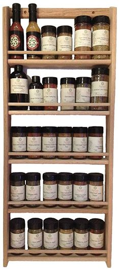 (Sturdily-constructed, wall-mount or counter top wood spice rack! This spice rack is ofunfinished solid. Includes Spice Rack--buy 2 and hang one. photo of rear side of spice rack). This is not considered a defect.