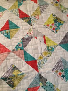 Modern Baby Quilt   Handmade with bright by QuiltyCityStitches