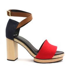 Red and Navy Canvas Platform Sandal - #r29summerstyle by SidewalkCatwalks