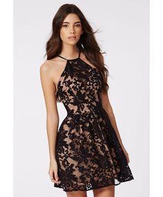 Irinah Lace Organza Skater Dress Black - Dresses - Skater Dresses - Missguided