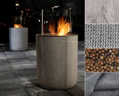Bioethanol fireplace Jar Commerce by Planika. The coldness of concrete which contrasts nicely with fire, wood, grey fabrics and white walls creates not just modern edge, but natural warmth in the interior. Contemporary Outdoor Fireplaces, Modern Outdoor Fireplace, Outdoor Fireplace Designs, Modern Fireplaces, Fireplace Ideas, Bioethanol Fireplace, Concrete Fireplace, Dyi, Modern Lanterns
