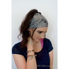 Wide Headband Wrap Paisley Womens Headband Pineapple Bun Wrap Navy... ($13) ❤ liked on Polyvore featuring accessories, hair accessories, grey, headbands & turbans, navy blue hair accessories, stretchy headbands, head wrap hair accessories, wide headbands and yoga headbands
