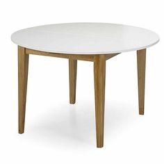 Table ronde 2 allonges pin massif coloris blanc 4 8 couverts authentic - Table ronde 8 couverts ...