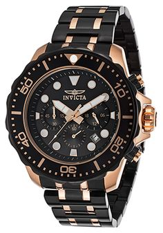 Invicta Pro Diver 18K Rose Plated Case Chronograph Black Dial Watch - $154.99