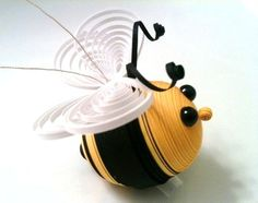 Quilled Bee Ornament in Black and Yellow on Etsy, $16.71