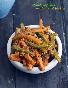 Quick Carrot and Capsicum Pickle recipe | Indian Microwave Recipes | by Tarla Dalal | Tarladalal.com | #2777
