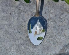 Painted Spoon/Spoon Ornament/Chapel Ornament/Winter Scene/Church