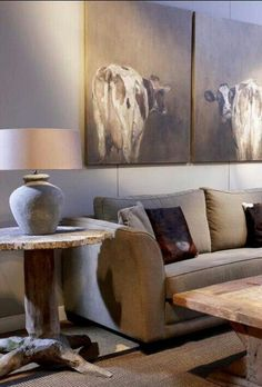 Living room by Mart Kleppe lol pinning for the great cow paintings