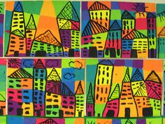Schulten inspired City painted block background 5 lines by 5 lines. Black line city on toppainted block background 5 lines by 5 lines. Black line city on top Art Lessons For Kids, Art Lessons Elementary, Mondrian, 2nd Grade Art, Ecole Art, School Art Projects, Kindergarten Art, Painting Lessons, Painting Art