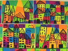 Teken 5 lijnen horizontaal en 5 lijnen verticaal (met potlood). Kleur deze vakken in. Teken nu met zwarte stift een rij huizen, gebruik makend van de gekleurde vlakken!