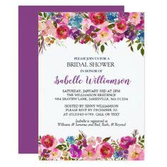 Purple Floral Bridal Shower Invitation Template - purple floral style gifts flower flowers diy customize unique