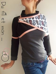 Du fil et mon. Bolero Pattern, Hoodie Pattern, Fashion Sewing, Diy Fashion, Couture Tops, Refashion, Diy Clothes, Girl Power, Casual Outfits