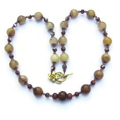 Long Chunky Cream Brown Stone Necklace Semiprecious by ALFAdesigns