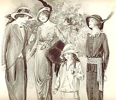 1913 Fashion Illustration The Delineator Four Ladies