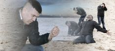 An image tagged guy with sand in the hands of despair Funny Reaction Pictures, Meme Pictures, Funny Images, Funny Photos, Image Meme, Blank Memes, Draw The Squad, Meme Template, Funny Short Videos