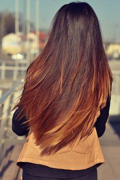 Luscious, long ombre hair. Dark brunette - auburn - caramel blonde.