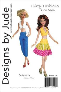 698c6e1b44 $12.95 - Flirty Fashions Doll Clothes Sewing Pattern For 16