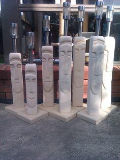 Rock Sculpture, Outdoor Sculpture, Styrofoam Art, Tiki Statues, Cement Crafts, Diy Garden Projects, Stone Work, Environmental Art, Stone Carving