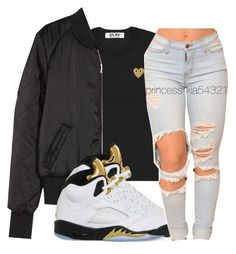 A fashion look from January 2017 featuring gold t shirt, bomber jackets and high-waisted jeans. Browse and shop related looks. Swag Outfits For Girls, Casual School Outfits, Teen Girl Outfits, Sporty Outfits, Dope Outfits, Pretty Outfits, Fall Outfits, Black Girl Fashion, Teen Fashion