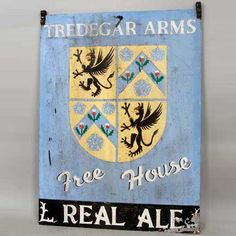 English Painted Metal Pub Sign, Tredegar Arms Free House 20th century