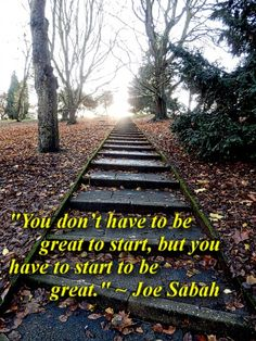 """""""You don't have to be great to start, but you have to start to be great."""" ~ Joe Sabah quote"""