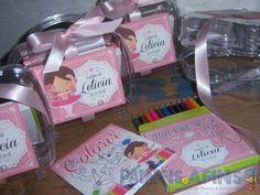 Kit Colorir #bailarina com maletinha, estojinho com mini lápis de cor e livrinho para colorir #lembrancinha