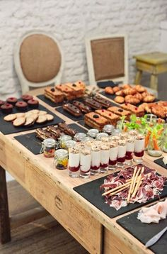 Wedding food stations display entertaining New ideas Coffee Break, Catering Display, Appetizer Table Display, Home Catering, Catering Table, Catering Food, Catering Ideas, Catering Services, Wedding Catering