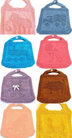 Knitting Pattern BABY BIBS      3  for 75     by ezcareknits, $7.50